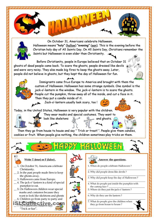Halloween - Reading   Halloween Worksheets, Halloween