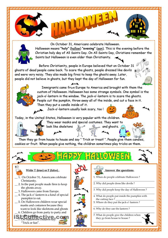 Halloween - Reading | Halloween Worksheets, Halloween