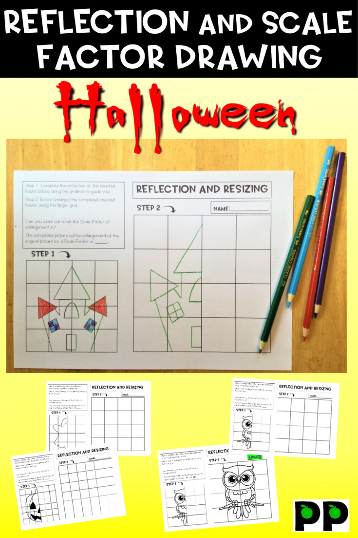 Halloween Reflection And Scale Factor Drawing, 29 Pgs