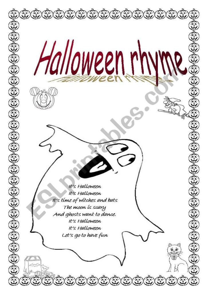 Halloween Rhyme   Esl Worksheetpurple Witch