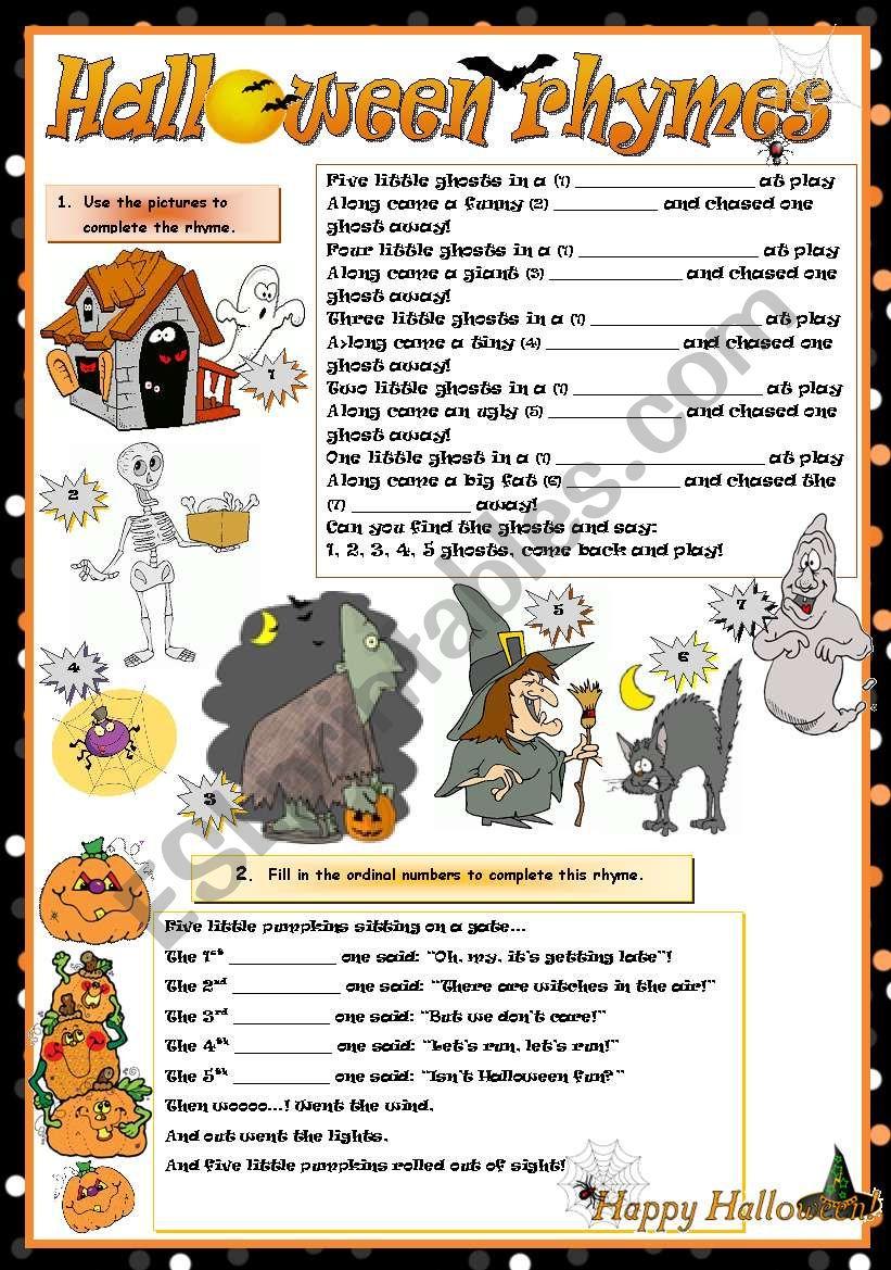 Halloween Rhymes - Esl Worksheetmariaolimpia