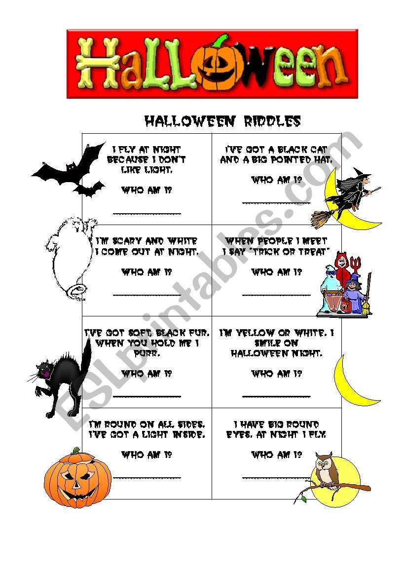 Halloween Riddles - Esl Worksheetgracefreire66