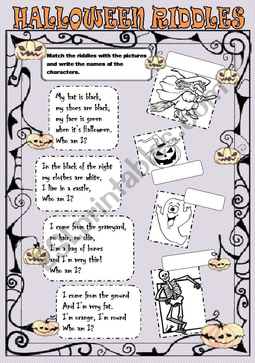 Halloween Riddles - Esl Worksheetlaretta.77