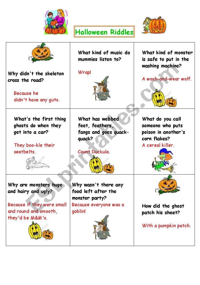 Halloween Riddles - Esl Worksheetvenezababi