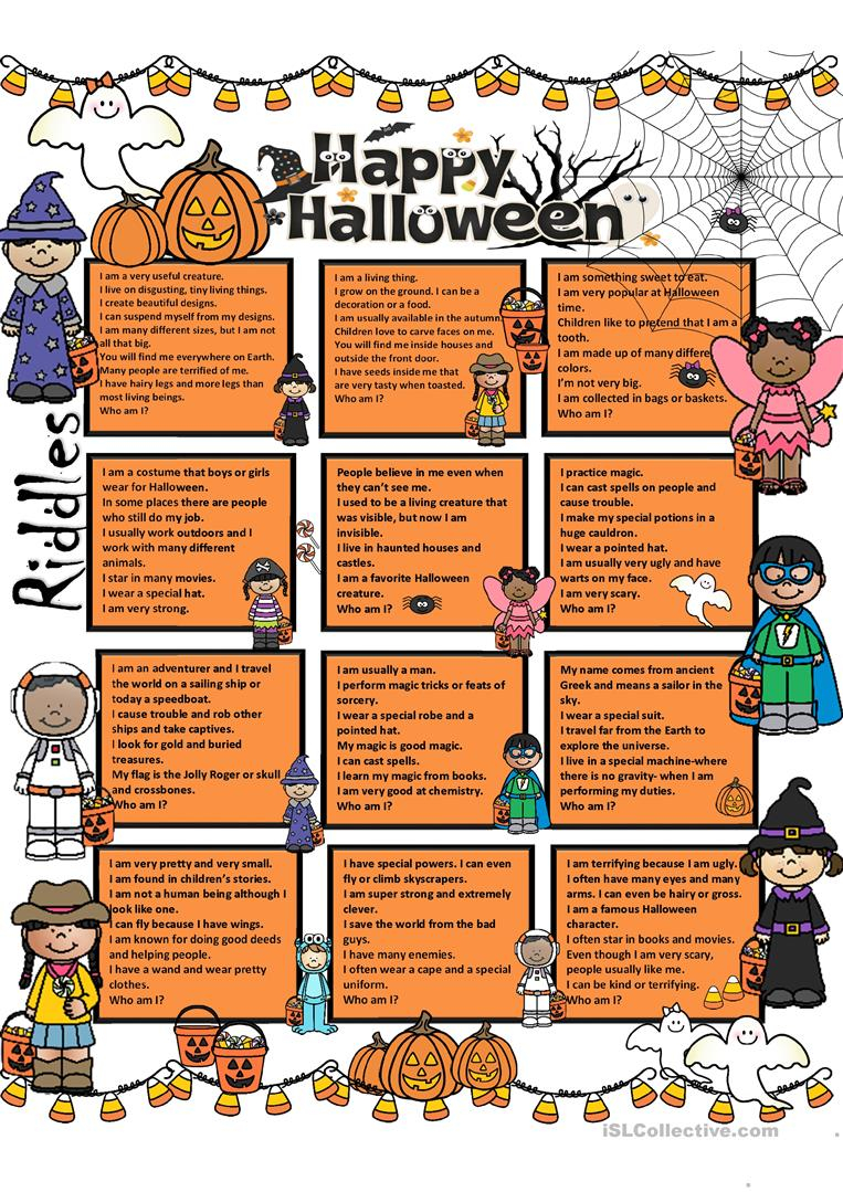 Halloween Riddles + Key - English Esl Worksheets For
