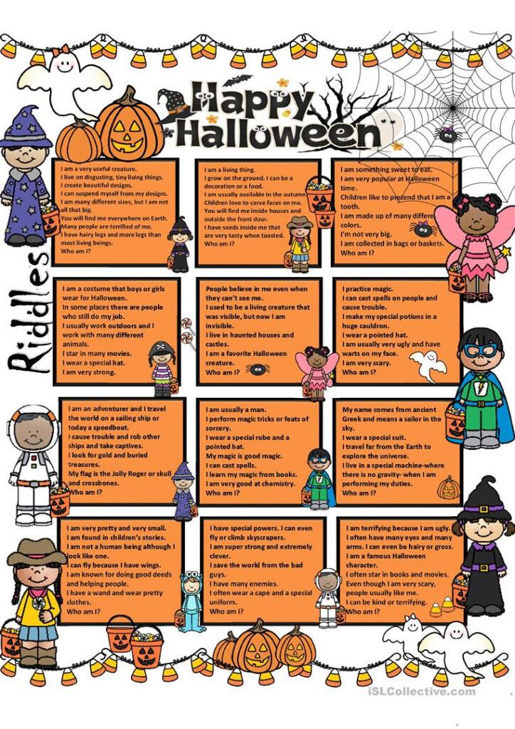 Halloween Riddles + Key   English Esl Worksheets For