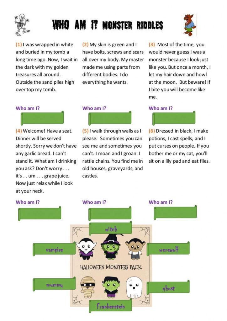 Halloween Riddles Worksheet