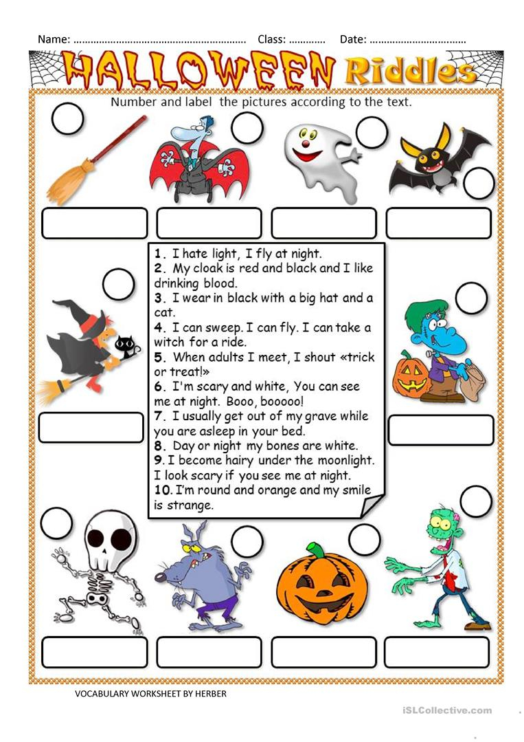 Halloween Riddles Ws - English Esl Worksheets For Distance