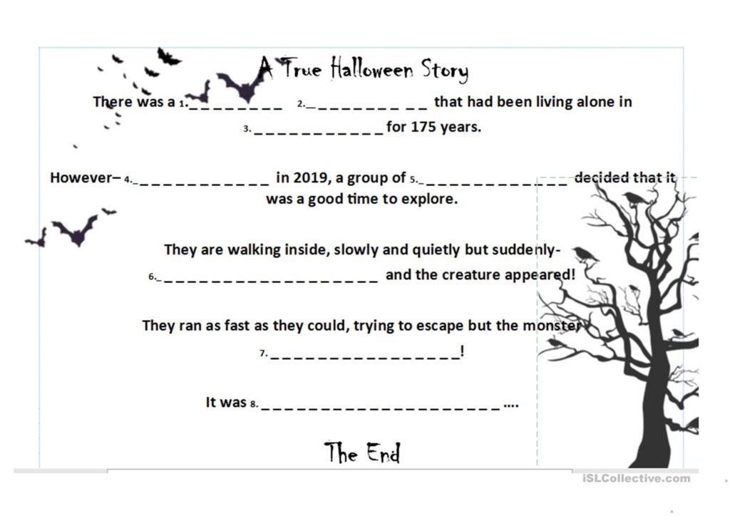 Halloween Roll A Story (Thriller Quiz Vocabulary)   English
