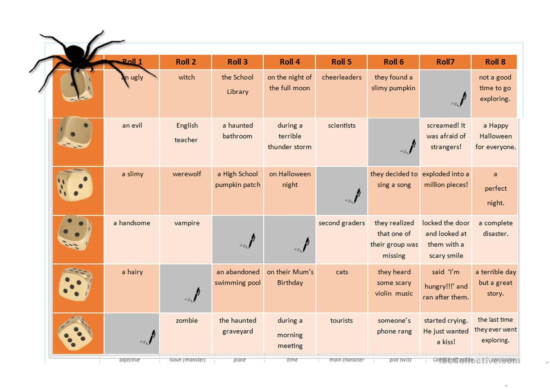 Halloween Roll-A-Story (Thriller Quiz Vocabulary) - English