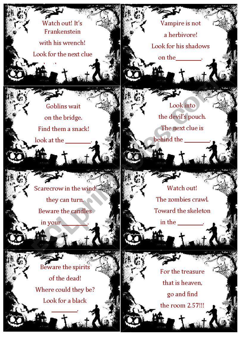 Halloween Scavenger Hunt - Esl Worksheetterike