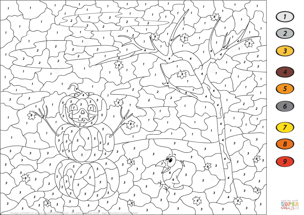 Halloween Scene Colornumber   Free Printable Coloring Pages