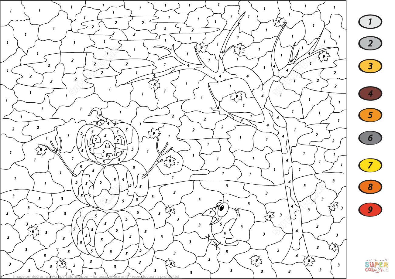 Halloween Scene Colornumber | Free Printable Coloring Pages