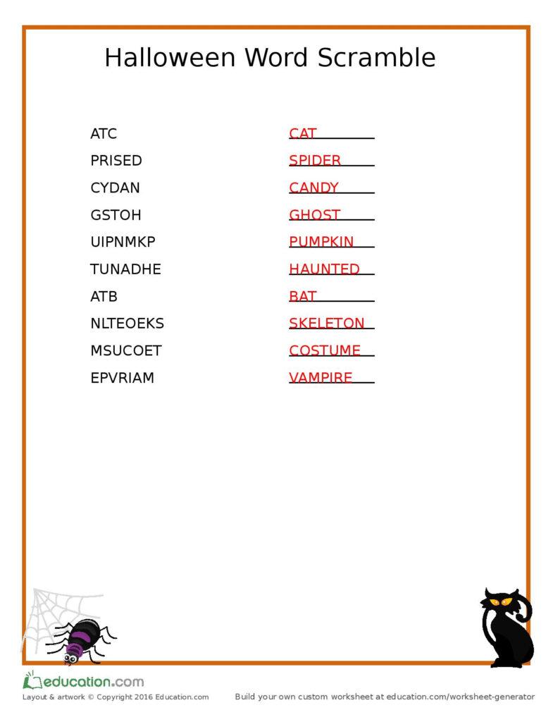 Halloween Scramble Worksheets | Printable Worksheets And