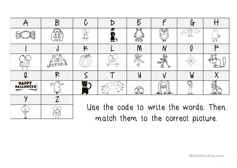 Halloween Secret Message Decoding - English Esl Worksheets