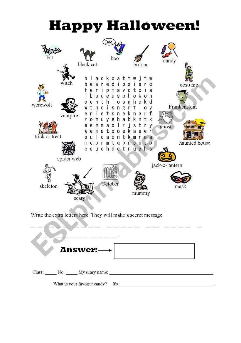 Halloween Secret Message Word Search - Esl Worksheet