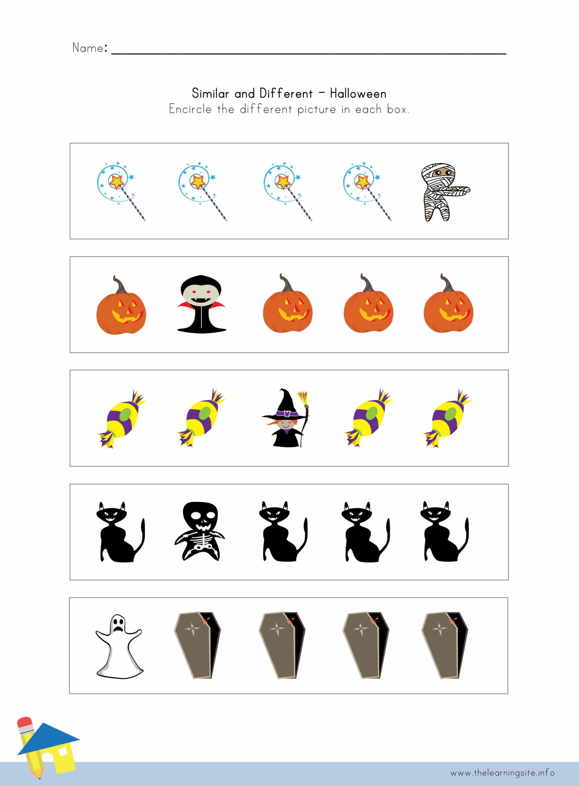 Halloween Similar And Different Worksheet 1 – The Learning Site