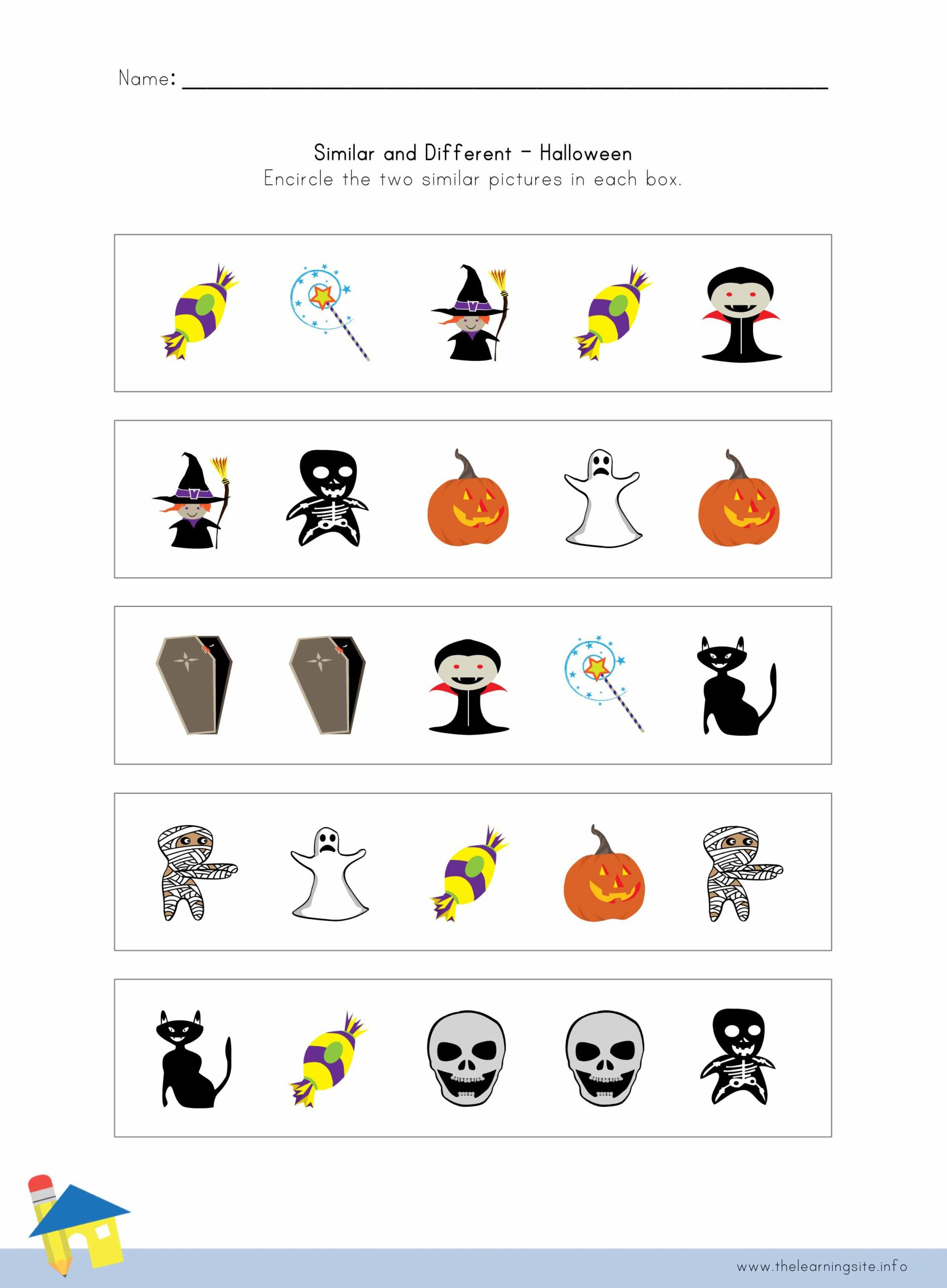 Halloween Similar And Different Worksheet 3 – The Learning Site