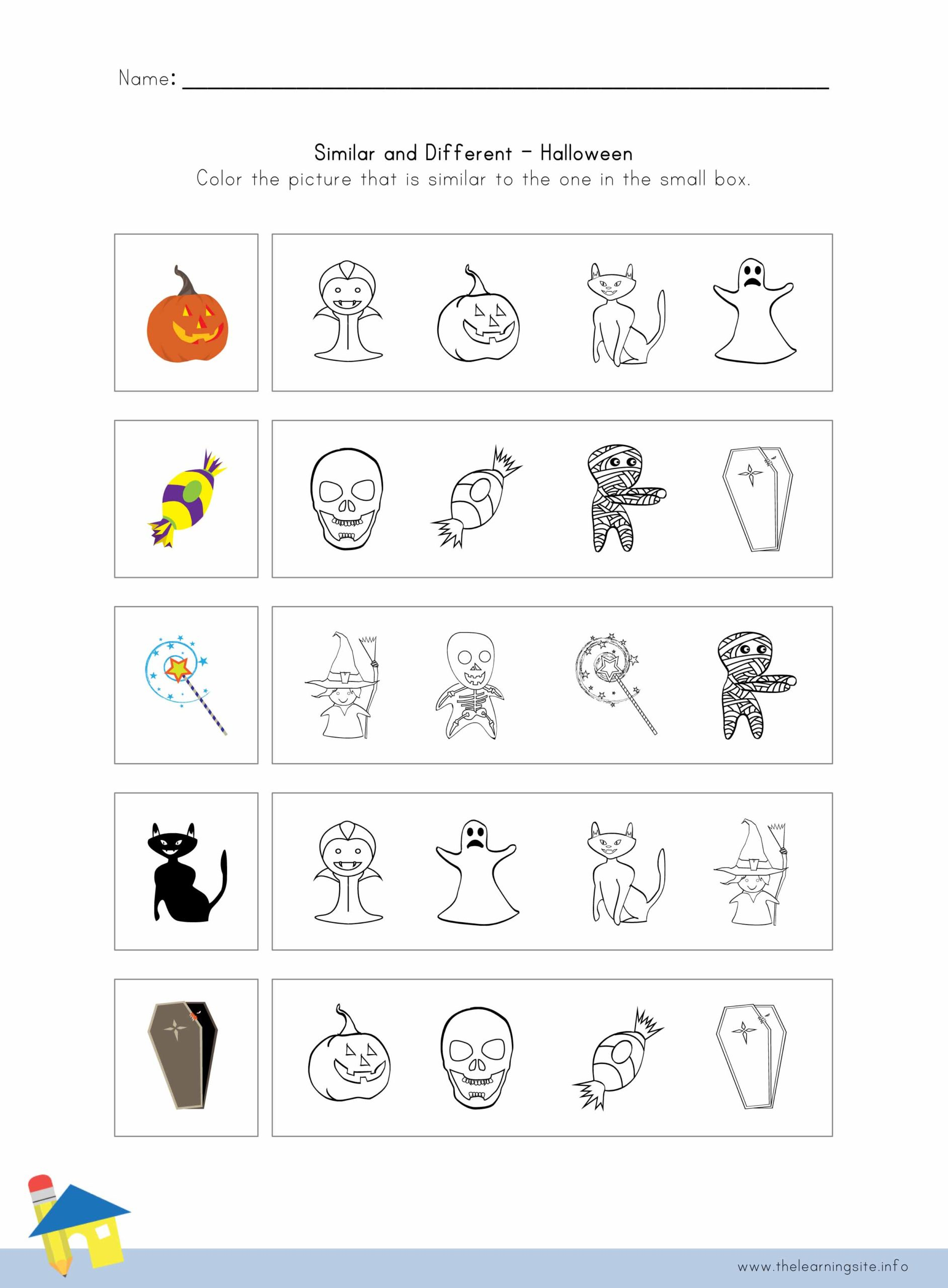 Halloween Similar And Different Worksheet 4 – The Learning Site