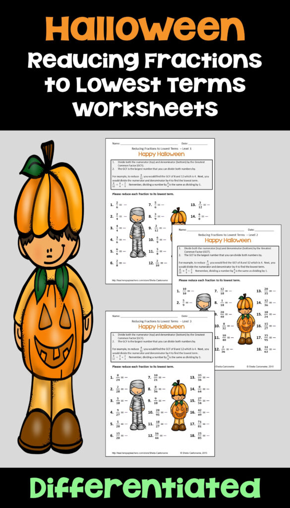 Halloween Simplifying Fractions Worksheets With Printable