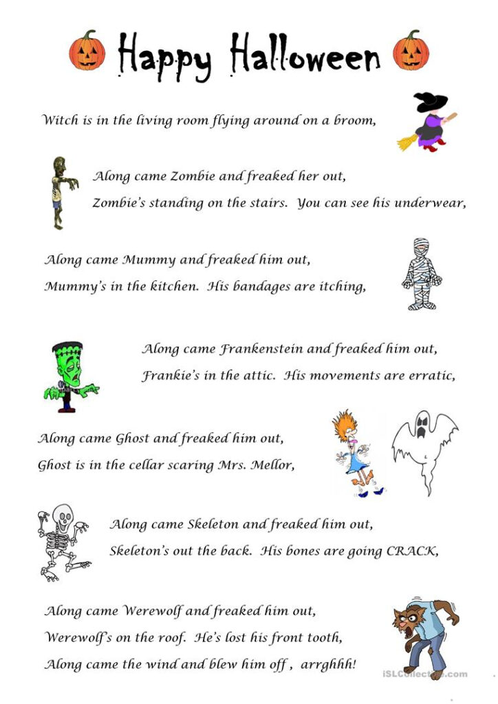 Halloween Skipping Song   English Esl Worksheets For