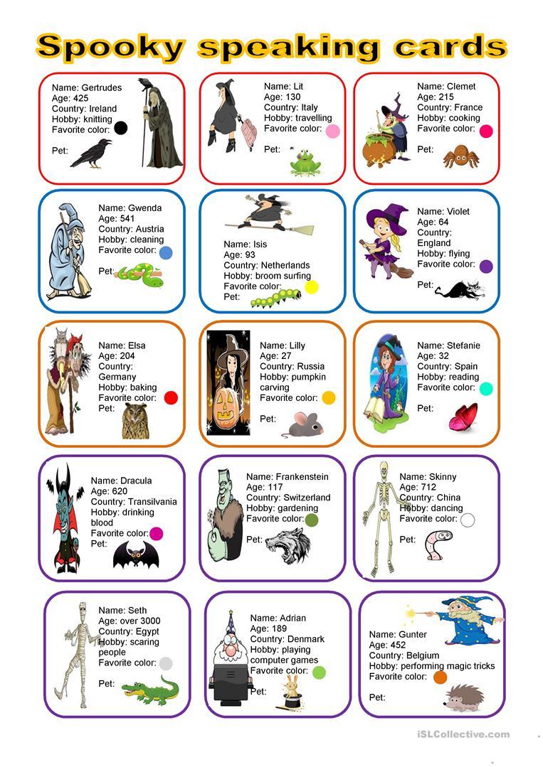 Halloween - Spooky Speaking Cards - English Esl Worksheets