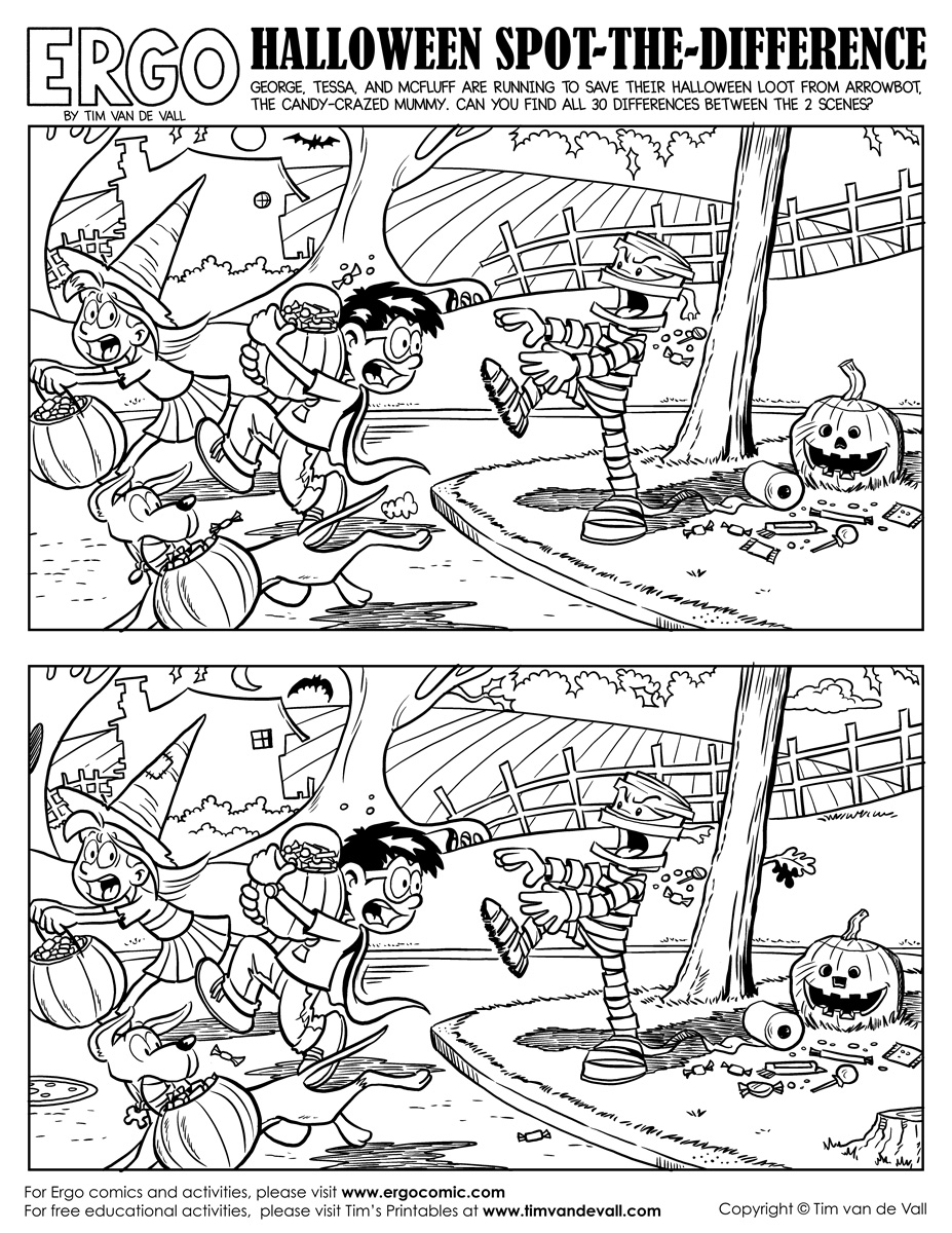 Halloween-Spot-The-Difference-Black-And-White - Tim's Printables