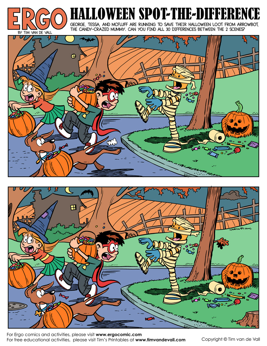 Halloween-Spot-The-Difference-Color - Tim's Printables