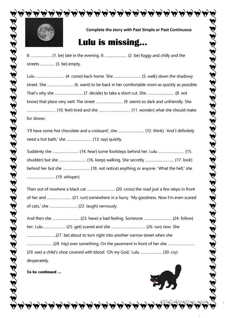 Halloween Story - Lulu Is Missing - English Esl Worksheets