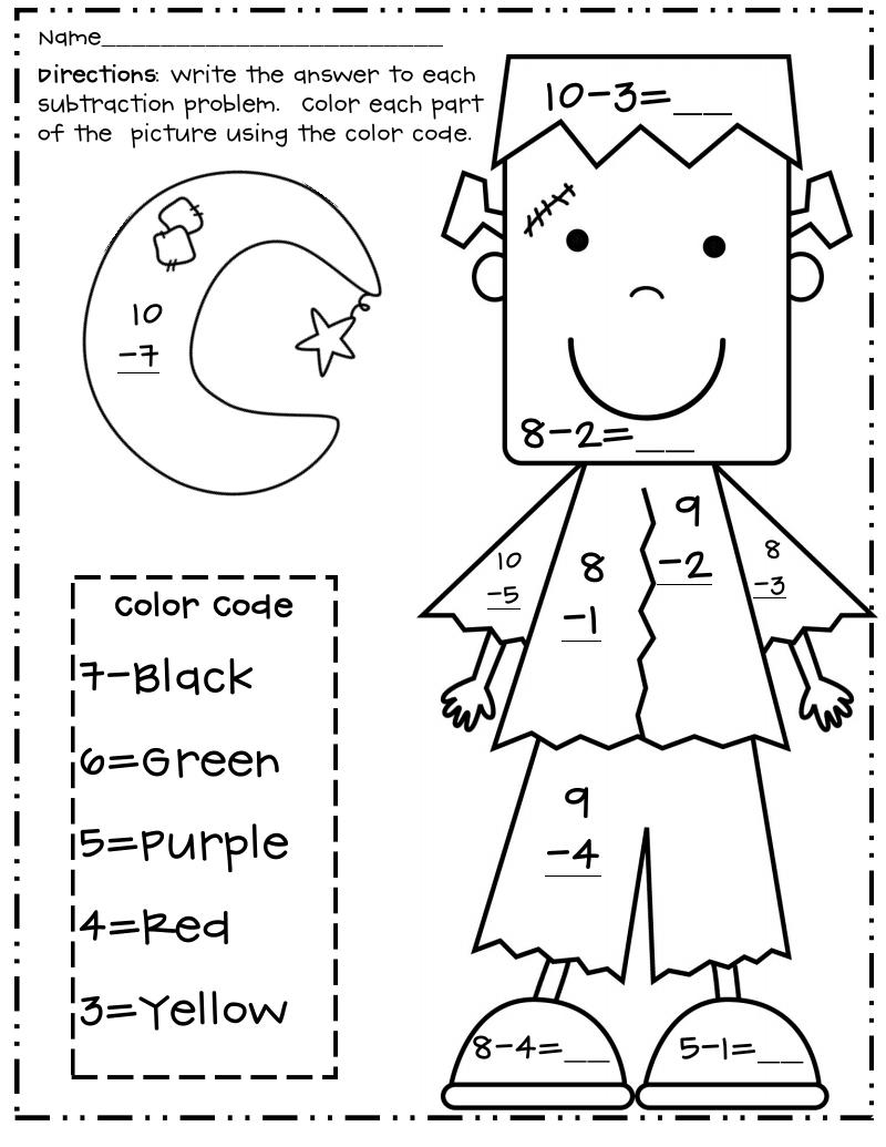 Halloween Subtraction Colornumber Worksheets In 2020