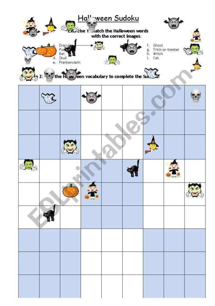 Halloween Sudoku   Esl Worksheetsanta Fe