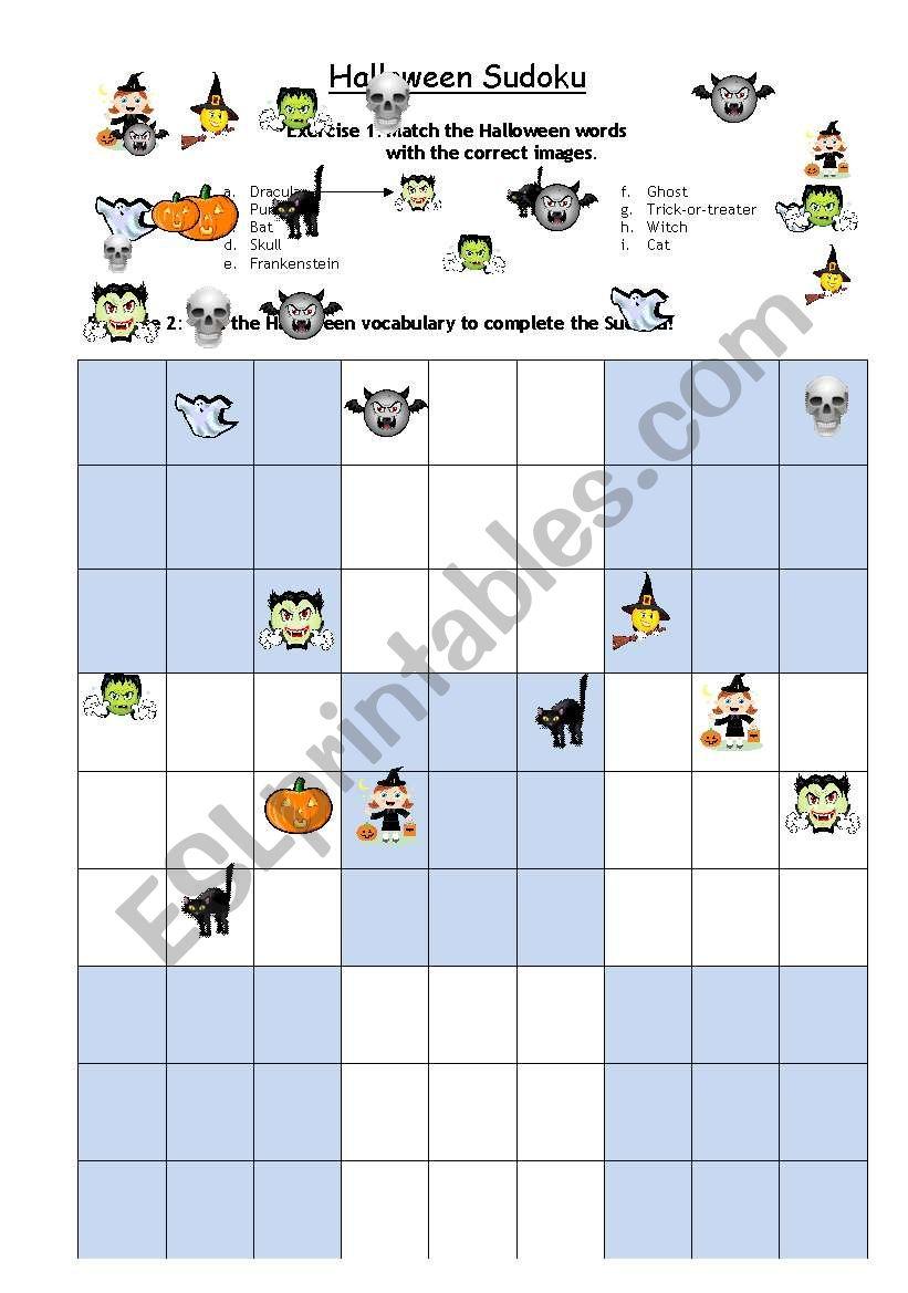 Halloween Sudoku - Esl Worksheetsanta Fe