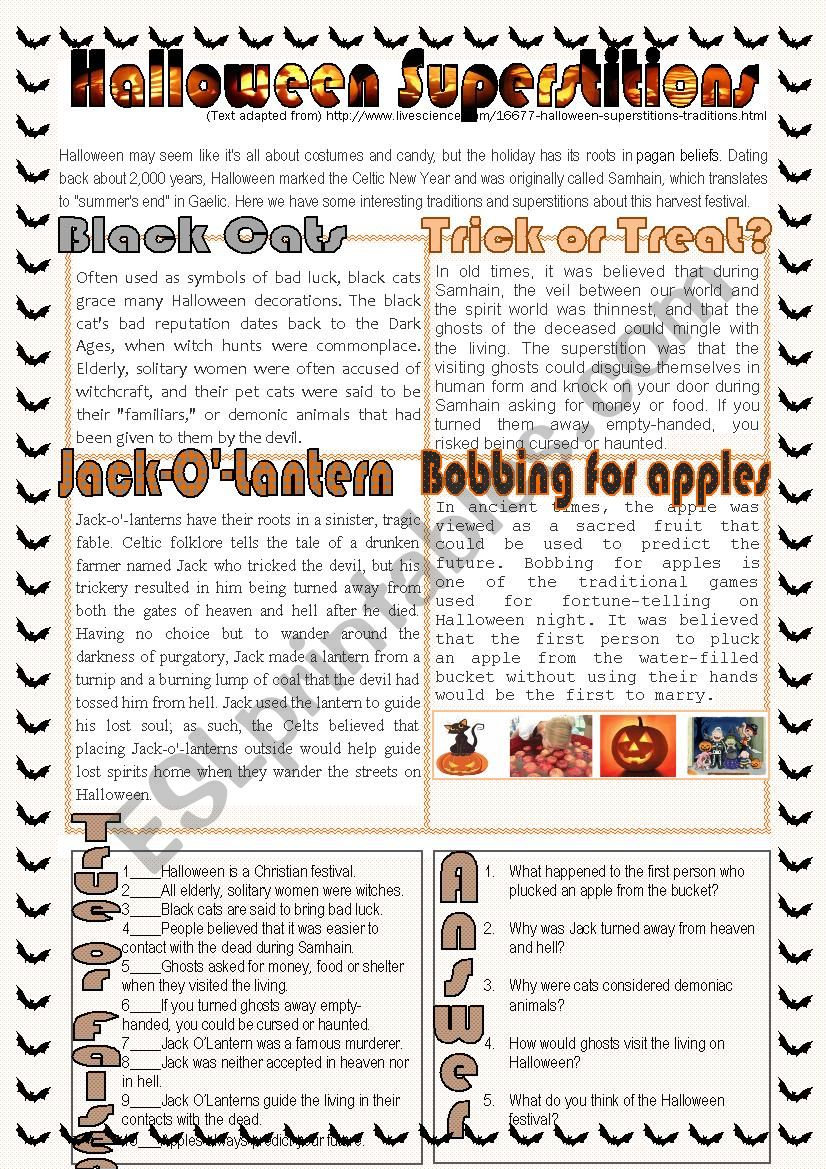 Halloween Superstitions - Esl Worksheetnuria08