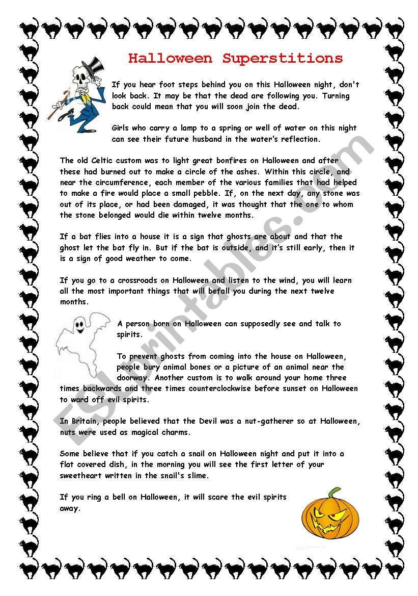 Halloween Superstitions - Esl Worksheetzora