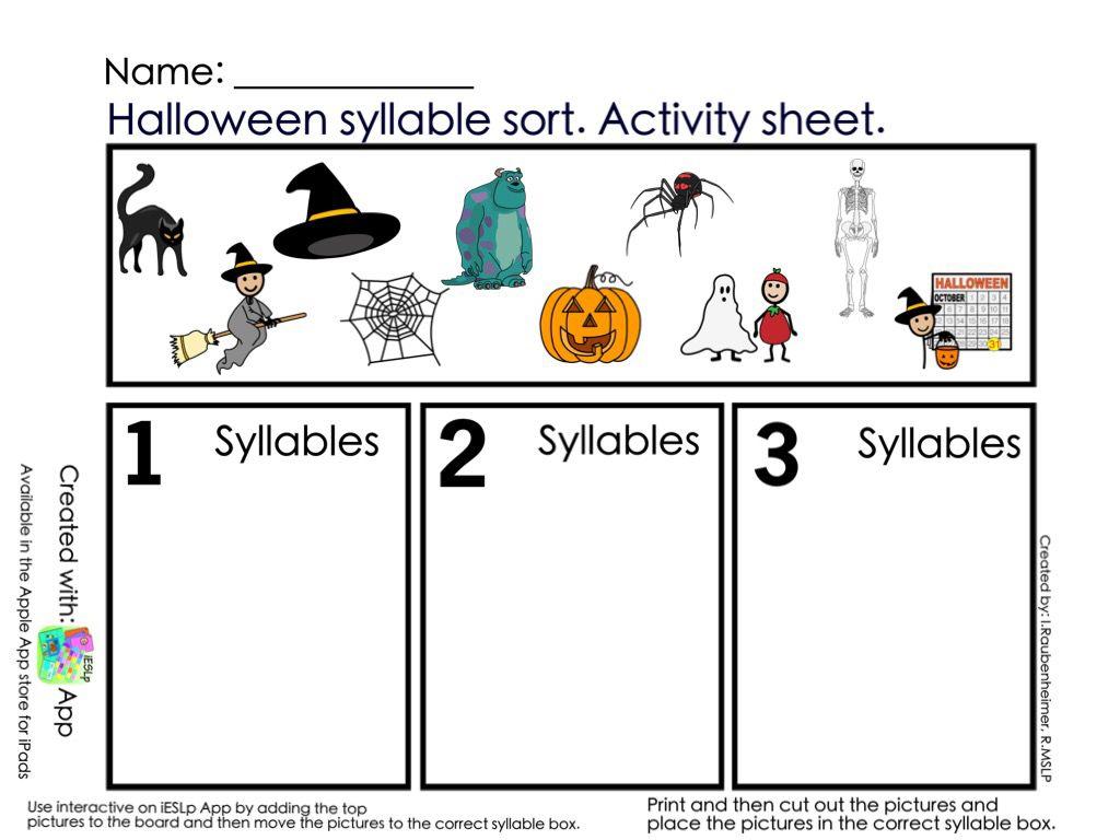 Halloween Syllable Sort Print Copy | Syllable Sort, Speech