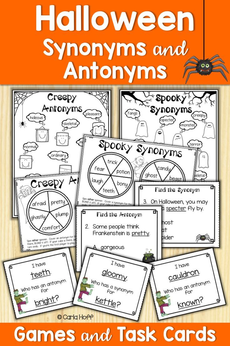 Halloween Synonyms And Antonyms   Task Cards And Games