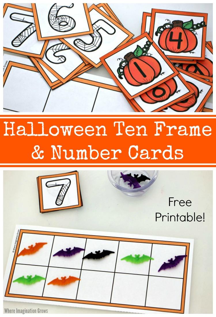 Halloween Ten Frame & Number Cards Printable - Where
