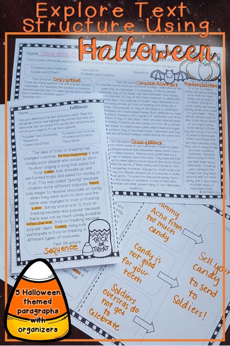 Halloween Text Structure Worksheets   Text Structure