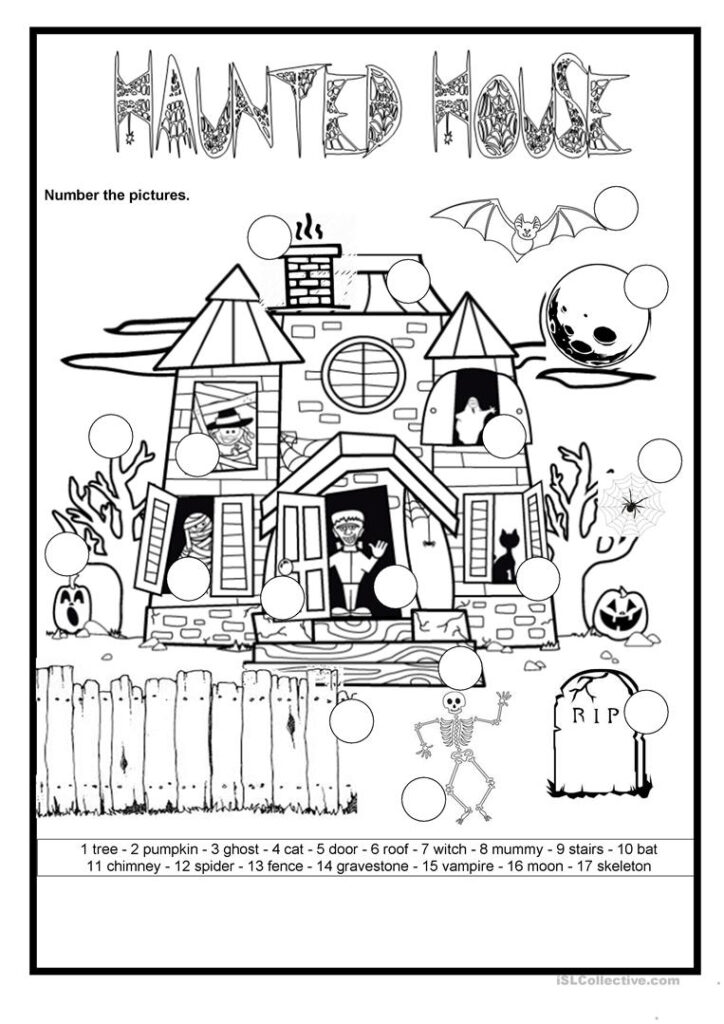 Halloween   The Haunted House   English Esl Worksheets For