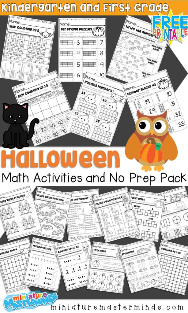Halloween Themed Kindergarten And First Grade Math