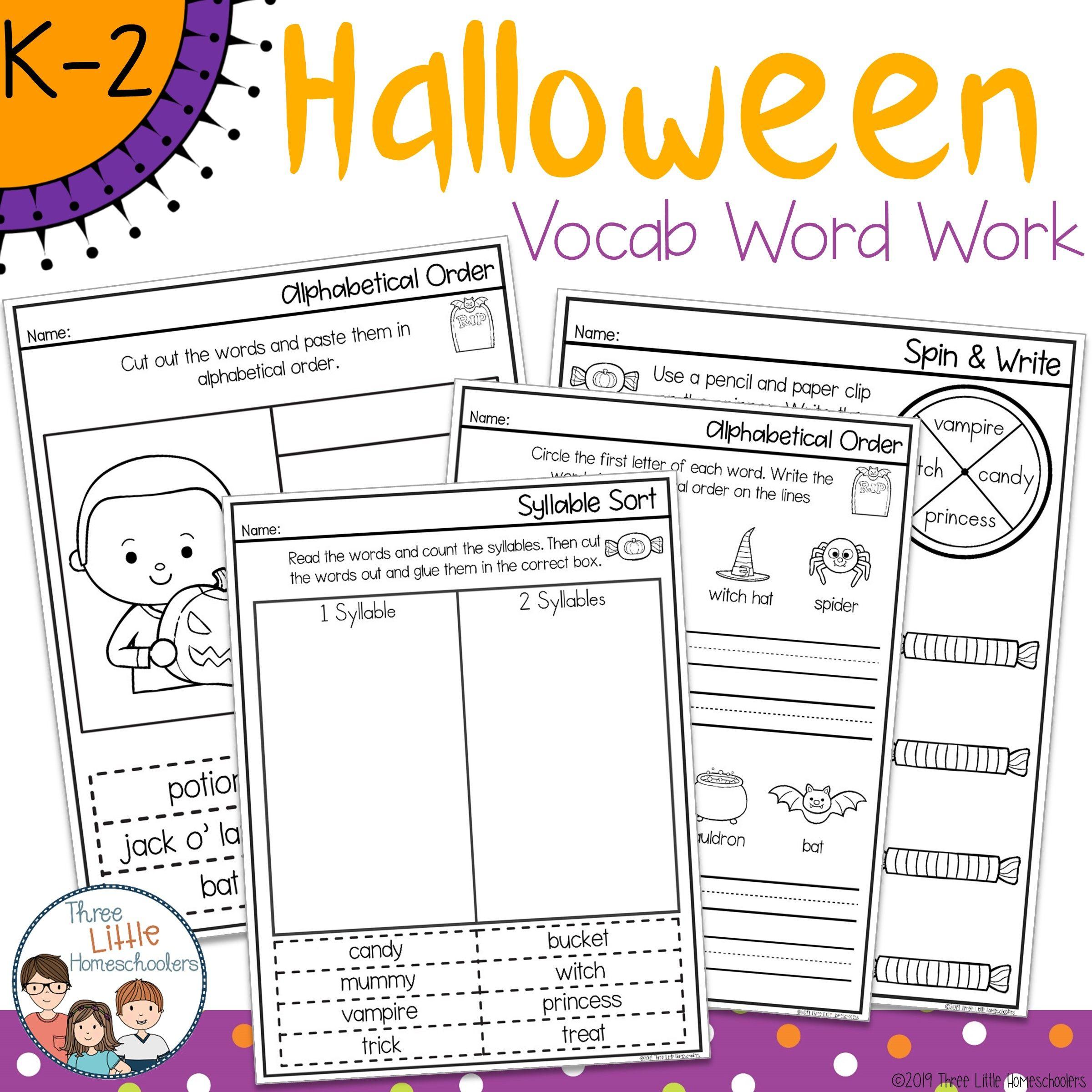 Halloween Themed Vocabulary Word Work - No Prep | Spelling