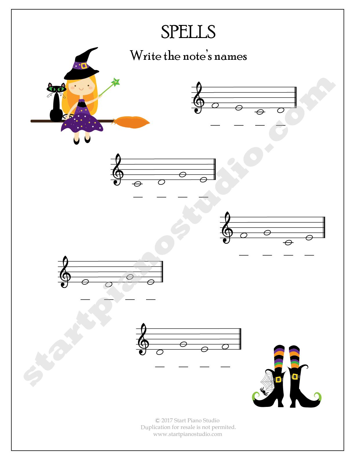 Halloween Theory Printables   Start Piano Studio   Piano