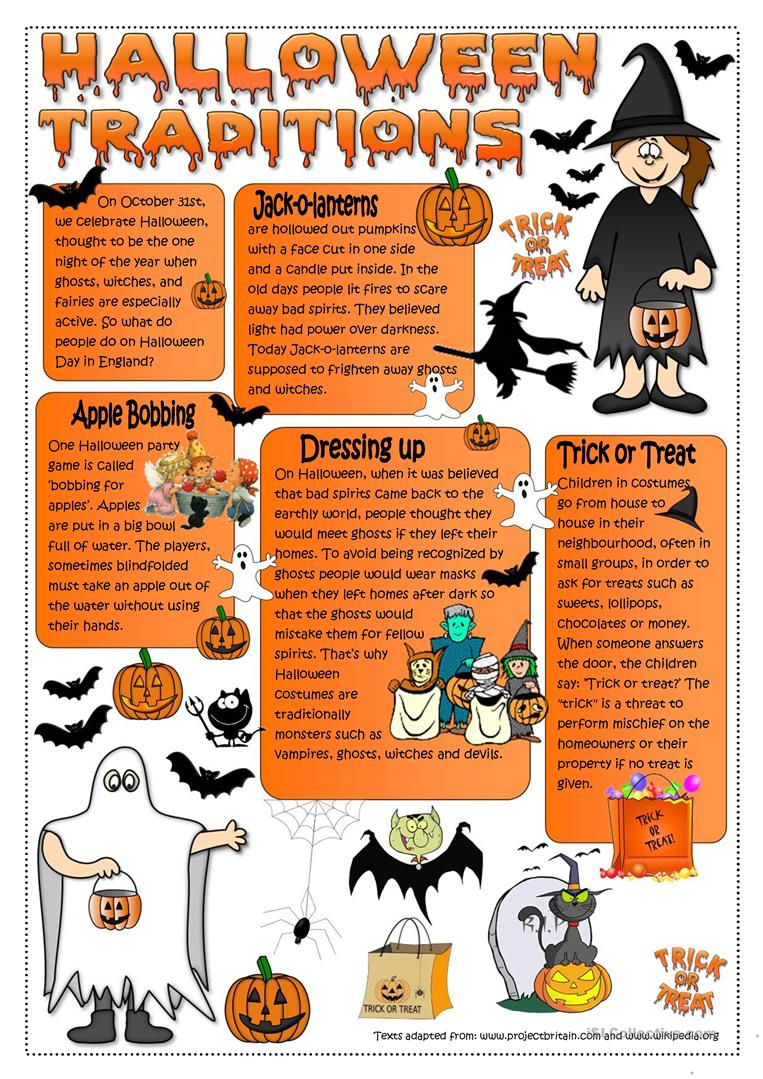 Halloween Traditions - English Esl Worksheets For Distance