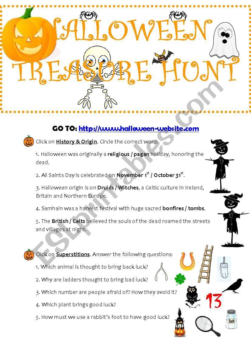 Halloween Treasure Hunt - Esl Worksheetamdlnio