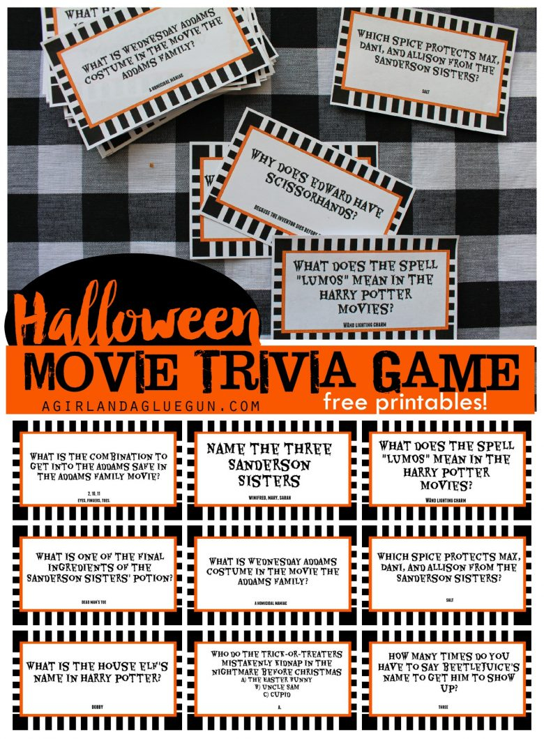 Halloween Trivia Game With Free Printables-Kids Version And