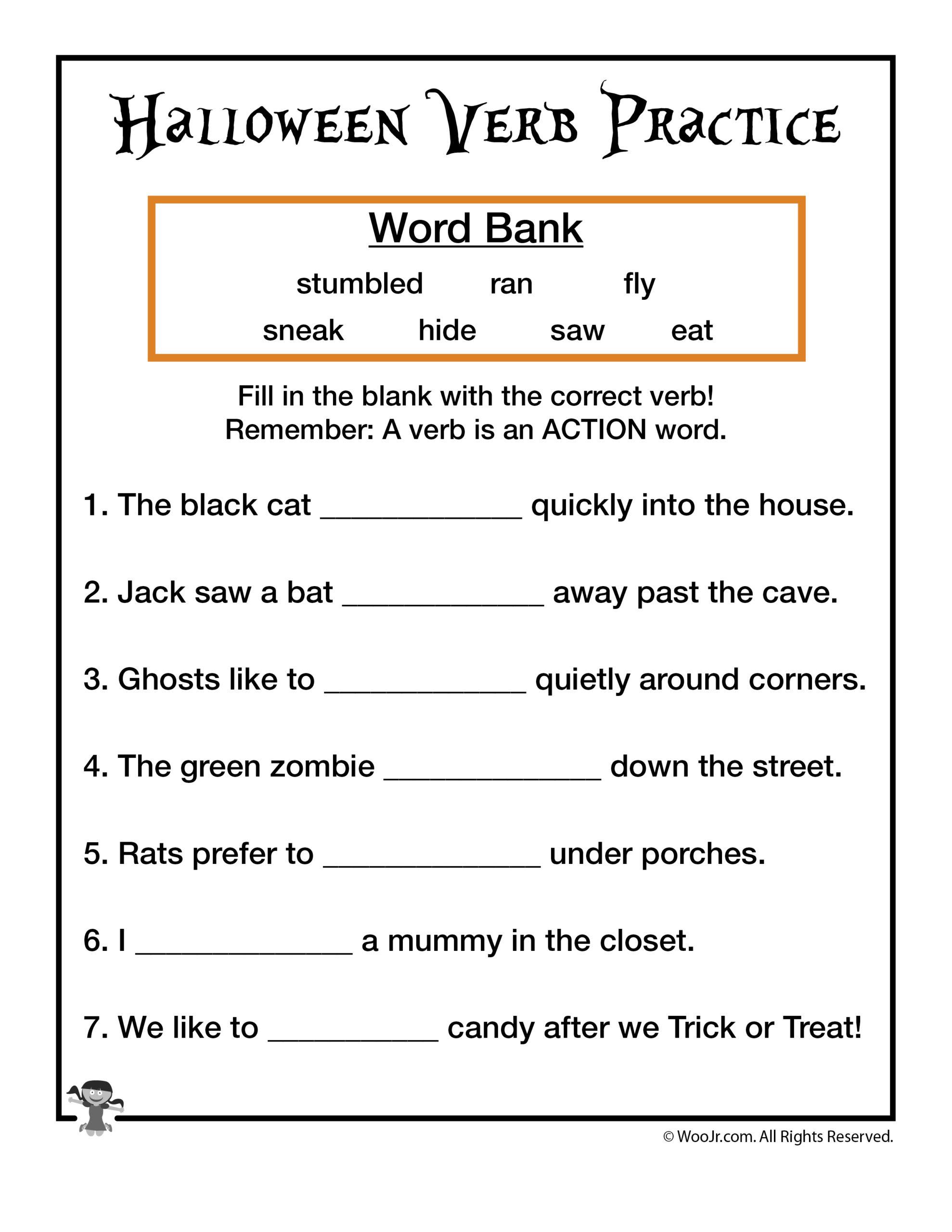 Halloween Verb Practice Worksheet | Woo! Jr. Kids Activities