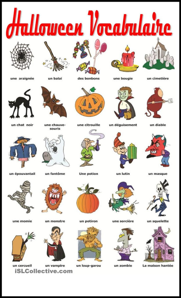 Halloween Vocabulaire | Vocabulaire, Fle Et Halloween