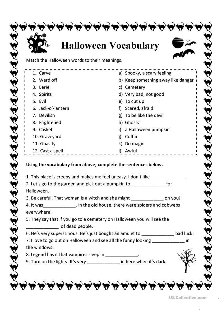 Halloween Vocabulary - English Esl Worksheets For Distance