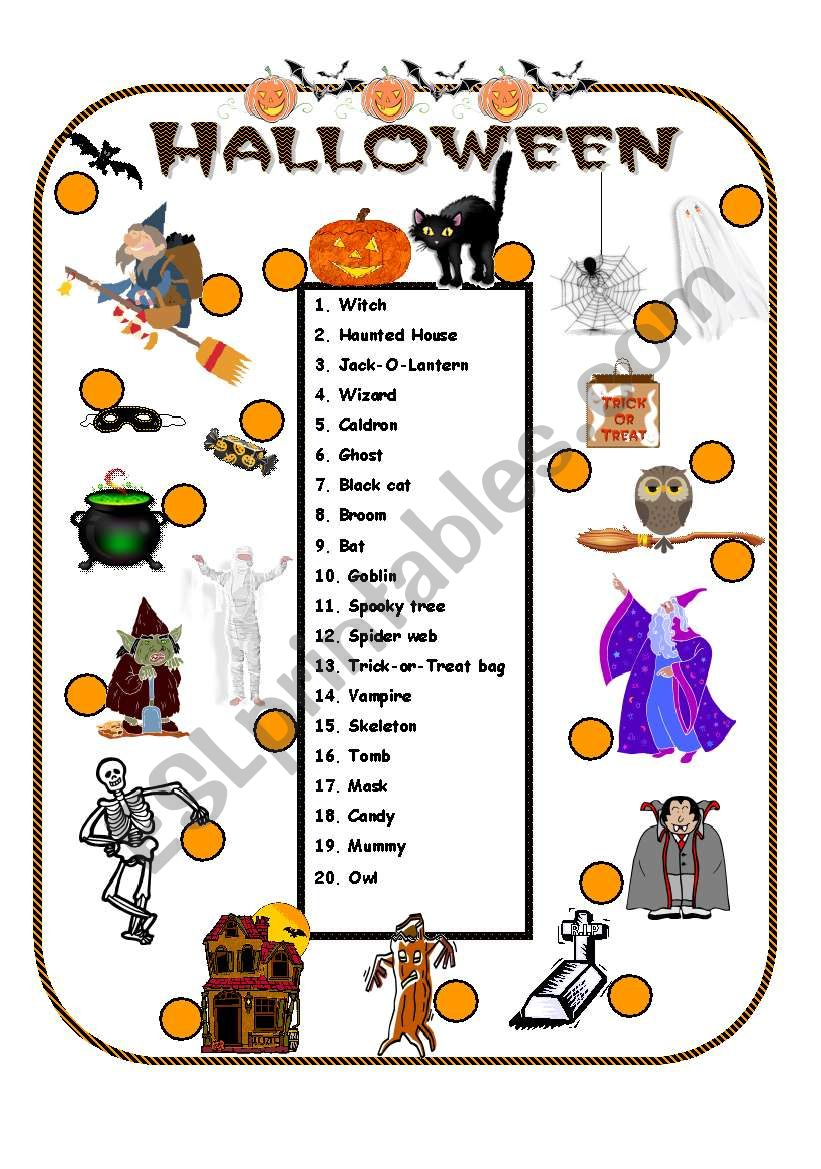 Halloween Vocabulary Esl Worksheetanna Worksheets Area