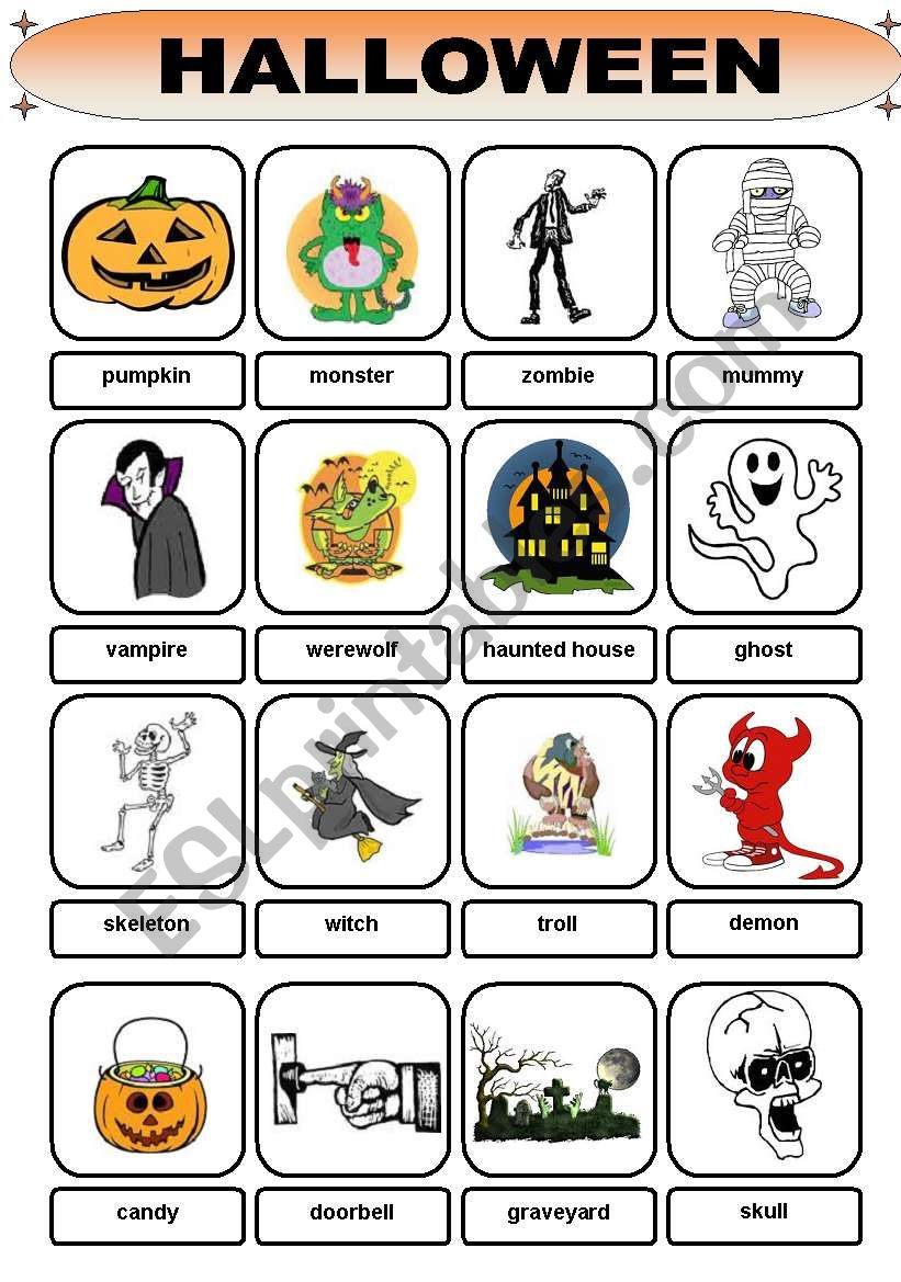 Halloween Vocabulary - Esl Worksheetbrent_Dws